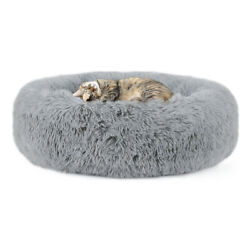 Plush Round Pet Bed for Small Dogs Cats Faux Dog Beds Washable Cat Calming Bed $15.99
