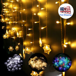 Christmas LED Snowflake Fairy String Curtain Window Lights Party Decoration 11ft
