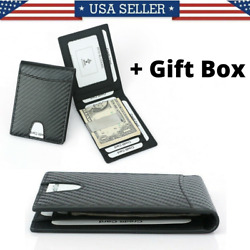Leather Bifold Slim Men#x27;s Wallet Carbon Fiber RFID Blocking Case with Money Clip $14.99