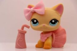 Authentic Littlest Pet Shop lps Short Hair Cat 339 Yellow with lps Accessories $11.30