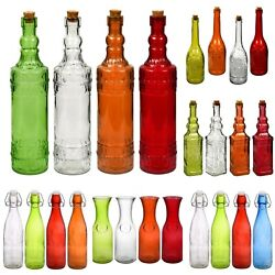 Glass Bottles Colorful Vintage with Cork Tops or Flip Top Metal Variety $5.79