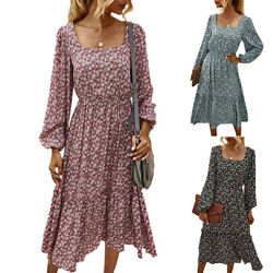 Womens Square Neck Floral Long Sleeve Ruffle Maxi Dress Casual Party Dresses $26.12