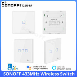 SONOFF T2EU RF 433MHz Wireless Switch Relay Receiver Module 86 Wall Panel Remote $9.59
