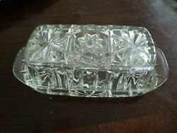 Vintage Crystal Clear Cut Glass Butter Dish with Lid Star Pattern $13.95