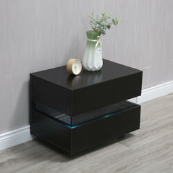 Modern High Gloss Nightstand Bedroom Bedside Table Cabinet 2 Drawers w LED Light $75.99