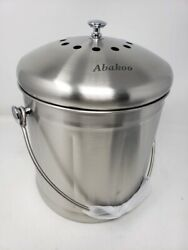 Abakoo Compost Bin 304 Stainless Steel Kitchen Composter Waste Pail Indoor Count $39.99