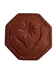 Antique Wooden Butter Mold Stamp Cookie Press Flower $24.99