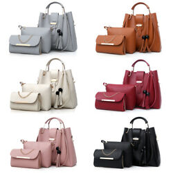 3Pcs Set Women Faux Leather Handbag Shoulder Bag Crossbody Tote Messenger Purse $18.99