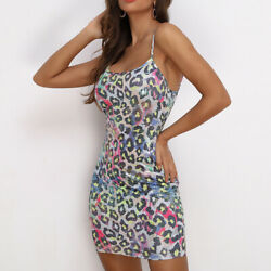 Leopard Print Short Women Dress Bodycon Sexy Sleeveless Party Dresses Street $21.99