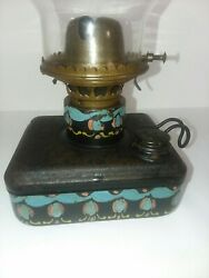Antique Tole Painted Railroad Metal Marker Lamp Fount Folk Art Hand Painted $55.00