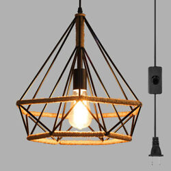 Plug In Rustic Kitchen Island Pendant Light Fixture Metal Cage Rope Ceiling Lamp $39.99