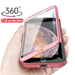 For iPhone SE 2020 360° Shockproof Full Body Phone Case Cover Tempered Glass $6.59