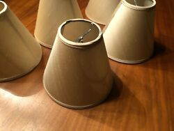 Set of 5 Silk CHANDELIER SHADES Taupe Tan Sand Light Brown NICE 6X5X3 Clamp ON $45.00