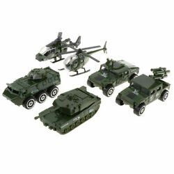 1:87 Tank Helicopter Toys 6pc Alloy Diecast Military Armored Vehicle Model Gifts $15.98