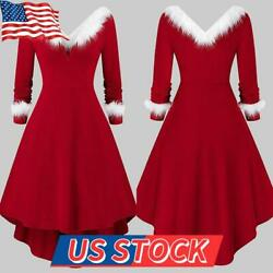 US Womens Christmas Irregular Dress Xmas Party Long Sleeve Skater A line Dress $24.31