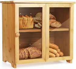 Bamboo Wood Bread Box Roll Top Large Kitchen Storage Containers Loaf Storage Bin $35.98