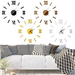 3D Clock Roman Numbers Acrylic Mirror Wall Sticker Home Decor Mural Decals Xmas $6.69