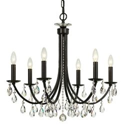 Crystorama Bridgehampton 6 LT Chandelier Bronze Faceted Crystal 8826 VZ CL S $1899.99