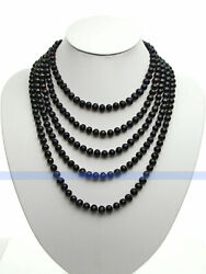 LONG 100quot; 7mm Genuine Freshwater Black Pearl Necklace $29.99