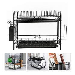 2 Tier Large Capacity Dish Drying Rack Stainless Steel Drainer Kitchen Storage $22.99