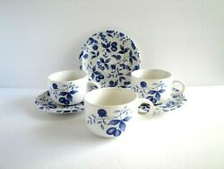 Vintage Century Stoneware Blueberry Hill Cups and Saucers Set of 3 $30.00