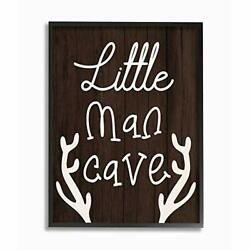 Stupell Industries Little Man Cave Boy#x27;s Rustic Room Sign Brown Designed by D... $73.28