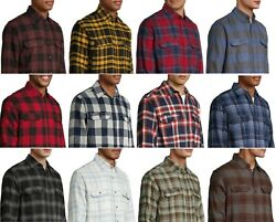 George Men#x27;s and Big Men#x27;s Long Sleeve Super Soft Flannel Shirt up to size 5XLT $29.99
