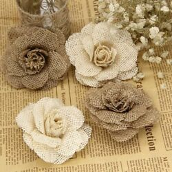 Jute Flowers 5pcs 9cm Handmade Hessian Burlap Rose Vintage Rustic Decorations $11.86
