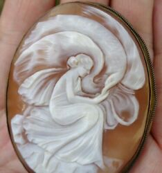 Victorian Antique 2.5quot; Carved Hebe Zeus Eagle Shell Cameo Pin A Beauty $345.00