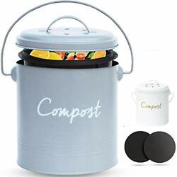 COMPOST BIN Stainless Steel Compost Bin for Kitchen Large Nordic Grey $43.52