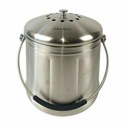 Abakoo Compost Bin 304 Stainless Steel Kitchen Composter Waste 1.8 Gallon $62.07