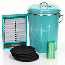 Compost Bin for Kitchen Counter: Stainless Steel Countertop Compost Turquoise $64.50