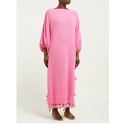 Rhode Resort Delilah Fringes Maxi Dress Boat Neck Oversized Pink L New 209155 $299.99
