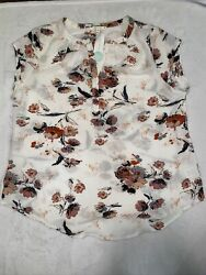 Fun 2 Fun Women's Walden Split Neck Blouse White Size XXL $30.00