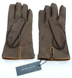 Peter Millar Collection Men#x27;s L Cashmere Lined Deerskin Leather Gloves Brown NWT $120.00
