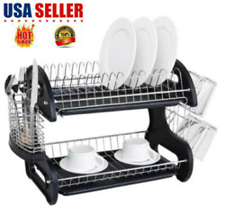 2 Tiers Dish Drying Rack Drainer Dryer Tray Kitchen Plate Cup Storage US SELLER $16.99
