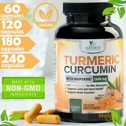 Tumeric Curcumin 2600mg High Potency Bioperine Black Pepper Extract Supplements $33.12