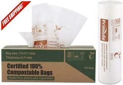 100% Compostable Bags 3 Gallon Food Scraps Yard Waste Bags 100 Count Extra T $23.84