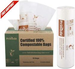 100% Compostable Bags 13 Gallon Food Scraps Yard Waste Bags 50 Count Extra T $23.84