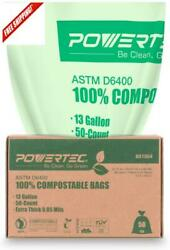 Powec Astm D6400 Cified Compostable Bags – 100 Count 49.2 Liter 13 Gallon $44.41