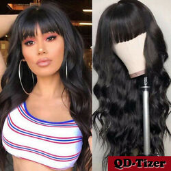 Long Loose Wavy Synthetic No Lace Wigs Full Bangs Black Women Heat Rsistant Soft