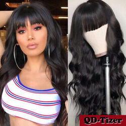 Long Loose Wavy Synthetic No Lace Wigs Full Bangs Black Women Heat Rsistant Soft $22.90