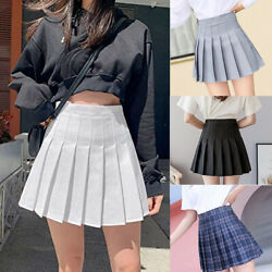 WOMEN HIGH WAIST A LINE SKATER MINI SKIRT PLEATED SHORT SCHOOL SKIRT DRESS USA $13.79