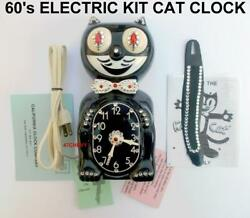 60#x27;s BLACK ORIGINAL JEWELED ELECTRIC KIT CAT KLOCK KAT CLOCK VINTAGE FELIX WORKS $265.78