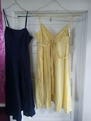 Lot 2 women#x27;s size 12 sundresses sun dresses. navy blue yellow floral Hilfiger $3.95