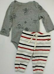 Baby Gap Star Boys 3 6 Months Gray Printed Bodysuit and Striped Pants Set $10.99