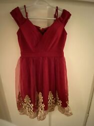 Entry Short Cocktail Party Evening Red Gold Embroider Formal Dress Size Medium $35.00