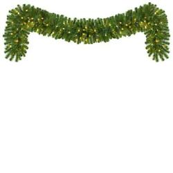 9 ft. Pre Lit LED Artificial Sequoia Fir Commercial Christmas Garland with 100