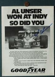 Indy 500 Champion Al Unser Sr. AUTOGRAPHED SIGNED Goodyear Tires Magazine Ad * $13.99