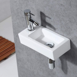 Gimify Bathroom Corner Sink Mini Wall Mount Sink Toilet Vessel Sink Ceramic for $61.95